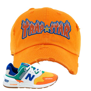 997S Multicolor Sneaker Orange Distressed Dad Hat | Hat to match New Balance 997S Multicolor Shoes | Trap Star