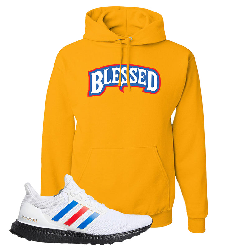 Ultra Boost White Red Blue Hoodie | Gold, Blessed Arch