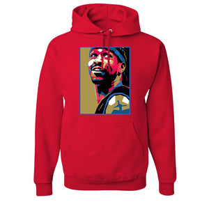 The Answer Pullover Hoodie | The Answer Stained Glass Red Pull Over Hoodie the front of this hoodie has the answer stained glass design