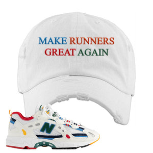 Aime Leon Dore X New Balance 827 Abzorb Multicolor 'White' Distressed Dad Hat | White, Make Runners Great Again Basic