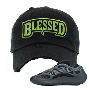 Yeezy 700 v3 Alvah Distressed Dad Hat | Black, Blesssed Arch