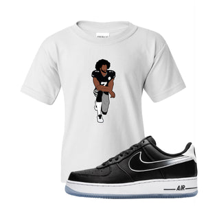 Colin Kaepernick X Air Force 1 Low Kaepernick Fist Kneeling White Sneaker Hook Up Kid's T-Shirt