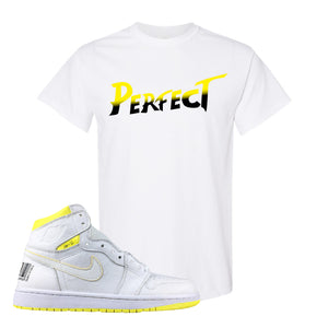 Air Jordan 1 First Class Flight Street Fight Perfect White Sneaker Matching Tee Shirt