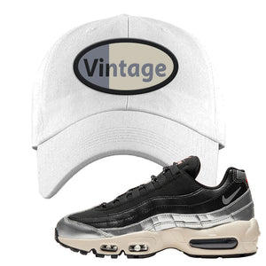 3M x Nike Air Max 95 Silver and Black Dad Hat | Vintage Oval, White