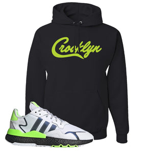 Nite Jogger Signal Green Hoodie | Black, Crooklyn