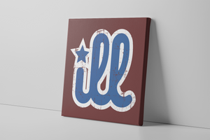 ILL Logo Canvas | ILL Logo Maroon Wall Canvas the front of this canvas has the blue and white design