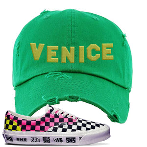Vans Era Venice Beach Pack Distressed Dad Hat | Kelly Green, Venice Sign
