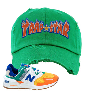 997S Multicolor Sneaker Kelly Distressed Dad Hat | Hat to match New Balance 997S Multicolor Shoes | Trap Star