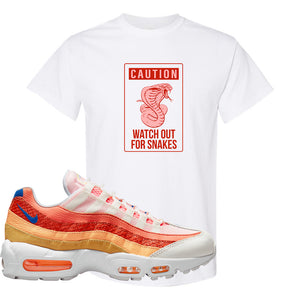 Air Max 95 Orange Snakeskin T Shirt | Caution Snakes, White