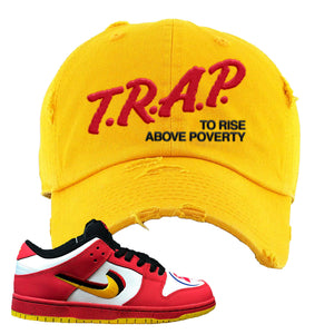 Nike Dunk Low Vietnam 25th Anniversary Distressed Dad Hat | Trap To Rise Above Poverty, Gold