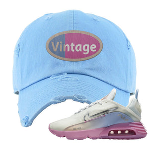 Air Max 2090 Airplane Travel Distressed Dad Hat | Vintage Oval, Light Blue