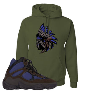 Yeezy 500 High Tyrian Hoodie | Military Green, Indian Chief