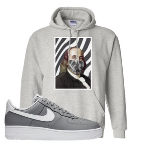 Air Force 1 Low Wolf Grey White Hoodie | Ash, Ben Franklin Mask