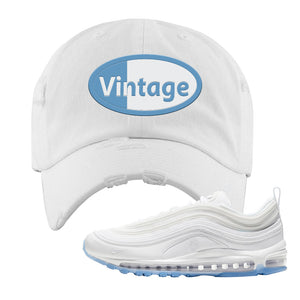 Air Max 97 White/Ice Blue/White Sneaker White Distressed Dad Hat | Hat to match Nike Air Max 97 White/Ice Blue/White Shoes | Vintage Oval