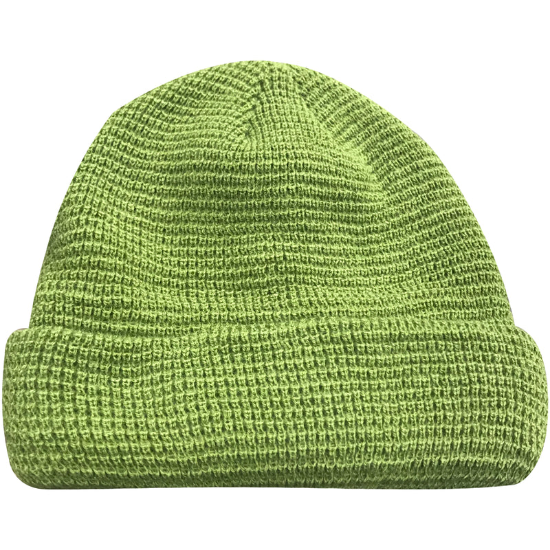 The light green waffle beanie features a waffle pattern and is solid light green