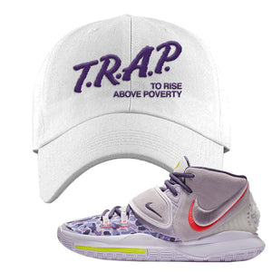 Kyrie 6 Asia Irving Dad Hat | Trap To Rise Above Poverty, White