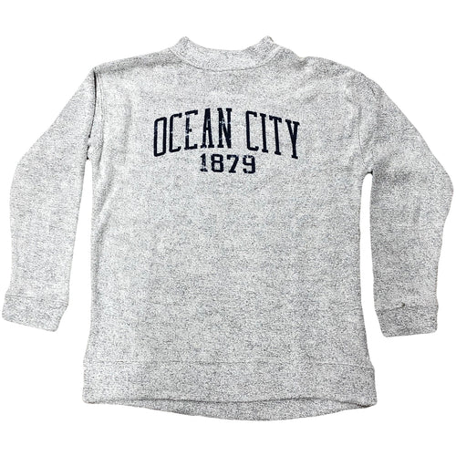 Printed on the front on the Ocean City 1879 Women's Marled Terry Gray crewneck sweatshirt are the words Ocean City printed in navy above the year 1879