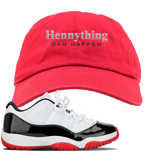 Jordan 11 Low White Black Red Sneaker Red Dad Hat | Hat to match Nike Air Jordan 11 Low White Black Red Shoes | HennyThing Is Possible
