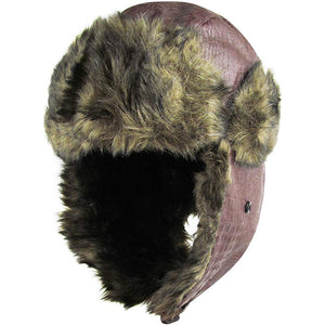 the vegan leather vegan fur trapper hat has a brown exterior and a tan interior