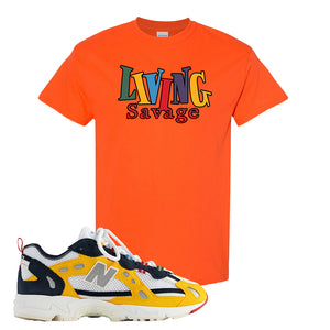 827 Abzorb Multicolor Yellow Aime Leon Dore Sneaker Orange T Shirt | Tees to match 827 Abzorb Multicolor Yellow Aime Leon Dore Shoes | Living Savage