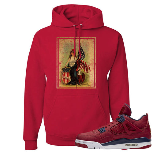 Jordan 4 FIBA Lady Liberty Shield Red Sneaker Matching Pullover Hoodie
