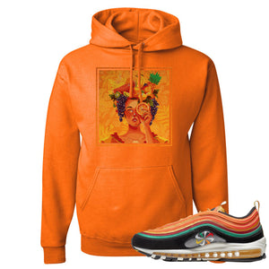 Printed on the front of the Air Max 97 Sunburst safety orange sneaker matching pullover hoodie is the Lady Fruit logo
