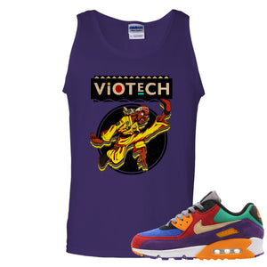 Printed on the front of the purple Air Max 90 Viotech sneaker matching tank top is the Viotech Rattlesnake Jones logo