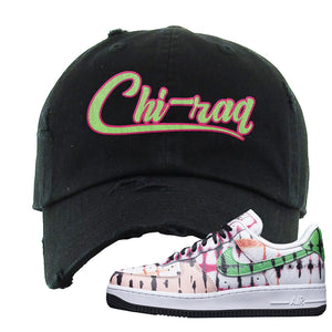 Air Force 1 Low Multi-Colored Tie-Dye Distressed Dad Hat | Black, Chiraq