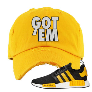 NMD R1 Active Gold Distressed Dad Hat | Gold, Got Em