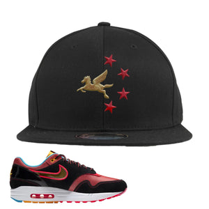 Air Max 1 NYC Chinatown Pegasus With Chinese Stars Black Snapback Hat To Match Sneakers