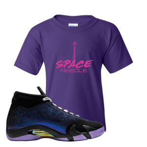 Jordan 14 Doernbecher Space Needle Purple Sneaker Hook Up Kid's T-Shirt