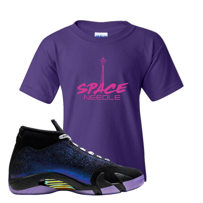 Jordan 14 Doernbecher Kid's T Shirt | Purple, Space Needle