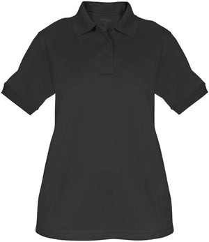 the Police Public Safety | Women's Tactical Short Sleeve Polo Shirt | Black Polyester UFX Firemen Police Uniform Shirt for Women has extra room in the hips and a no roll collar