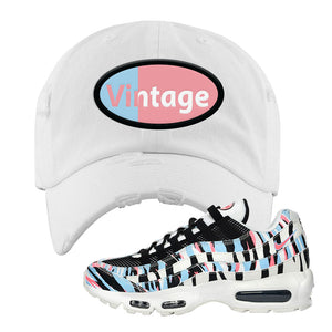 Air Max 95 Korea Tiger Stripe Distressed Dad Hat | White, Vintage Oval
