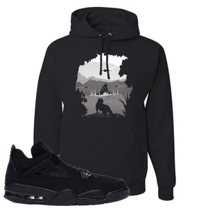 Air Jordan 4 Black Cat Panther Island Black Made to Match Pullover Hoodie