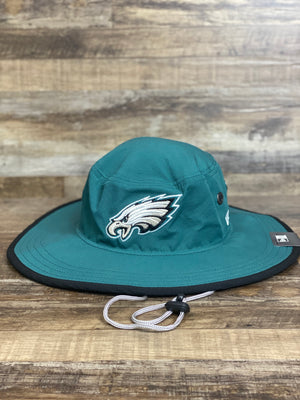 On the front of the Philadelphia Eagles Adventure Panama Bucket Hat is a current Eagles logo with metallic colors on the official team midnight green color dry fit material