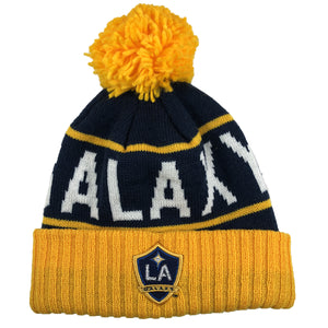 the los angeles galaxy thick knit winter beanie has the LA galaxy logo embroidered on the front