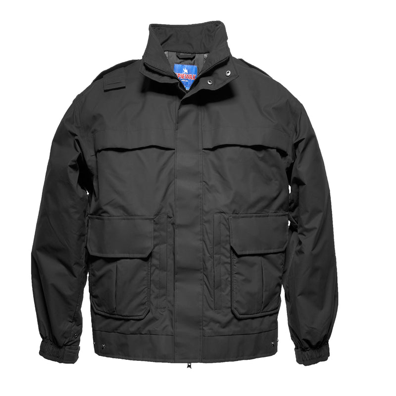 the Police Public Safety | Breathable Mesh-lined Weatherproof Jacket | Black Airflow Public Safety Uniform Duty Coat has a high collar and lots of utility pockets