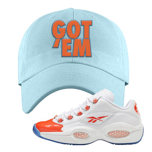 Question Low Vivid Orange Dad Hat | Got Em, Light Blue
