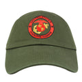 Embroidered on the front of this United States Marine Corps military green dad hat is the USMC logo embroidered in red and gold
