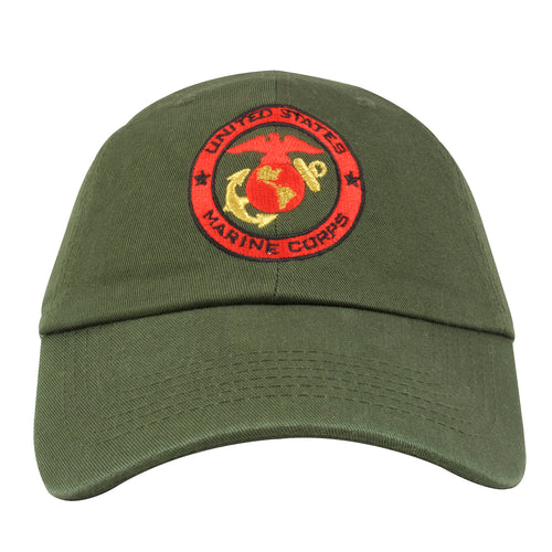 067332ea67b Embroidered on the front of this United States Marine Corps military green  dad hat is the