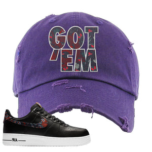 Air Force 1 Low Black Floral Distressed Dad Hat | Got Em, Purple