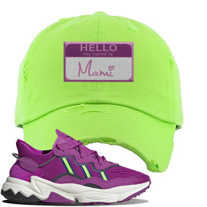 Ozweego Vivid Pink Sneaker Lime Green Distressed Dad Hat | Hat to match Adidas Ozweego Vivid Pink Shoes | Hello my Name is Mami