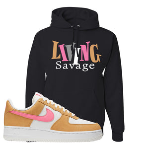 Nike Air Force 1 Pink Orange Hoodie | Living Savage, Black