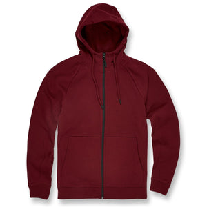 the jordan craig maroon zip up hoodie is solid maroon with a black zipper running down the center