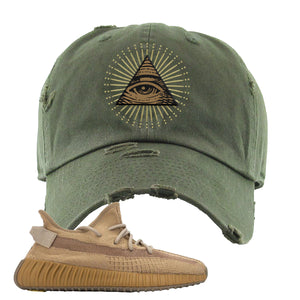 Yeezy Boost 350 V2 Earth Sneaker Distressed Dad Hat To Match | All Seeing Eye, Olive