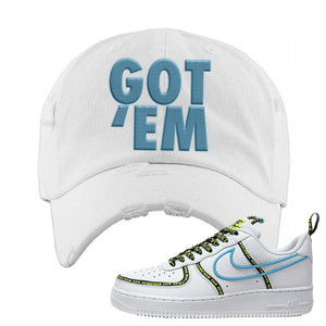 Air Force 1 '07 PRM 'Worldwide Pack' Distressed Dad Hat | White, Got Em