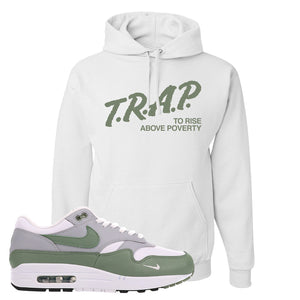 Air Max 1 Spiral Sage Hoodie | Trap To Rise Above Poverty, White