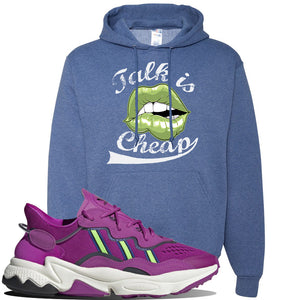 Ozweego Vivid Pink Sneaker Vintage Heather Blue Pullover Hoodie | Hoodie to match Adidas Ozweego Vivid Pink Shoes | Talk is Cheap