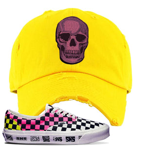 Vans Era Venice Beach Pack Distressed Dad Hat | Yellow, Skull